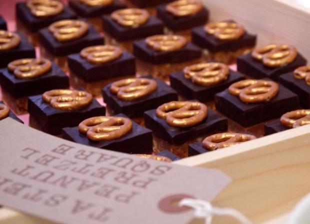 Golden pretzel peanut squares