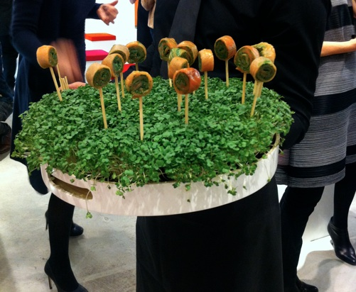 "Salmon roulade ""lollipops"" at the Pleats Please perfume launch"