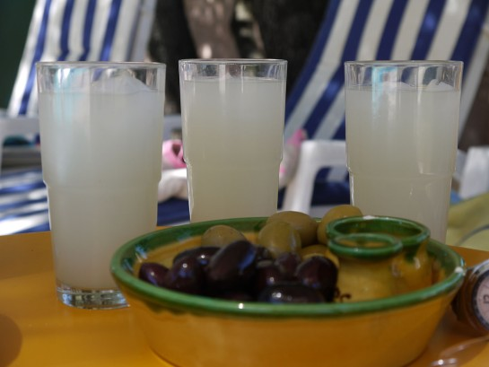 Pastis and olives