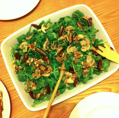 Curly kale, date, walnut, mushroom salad