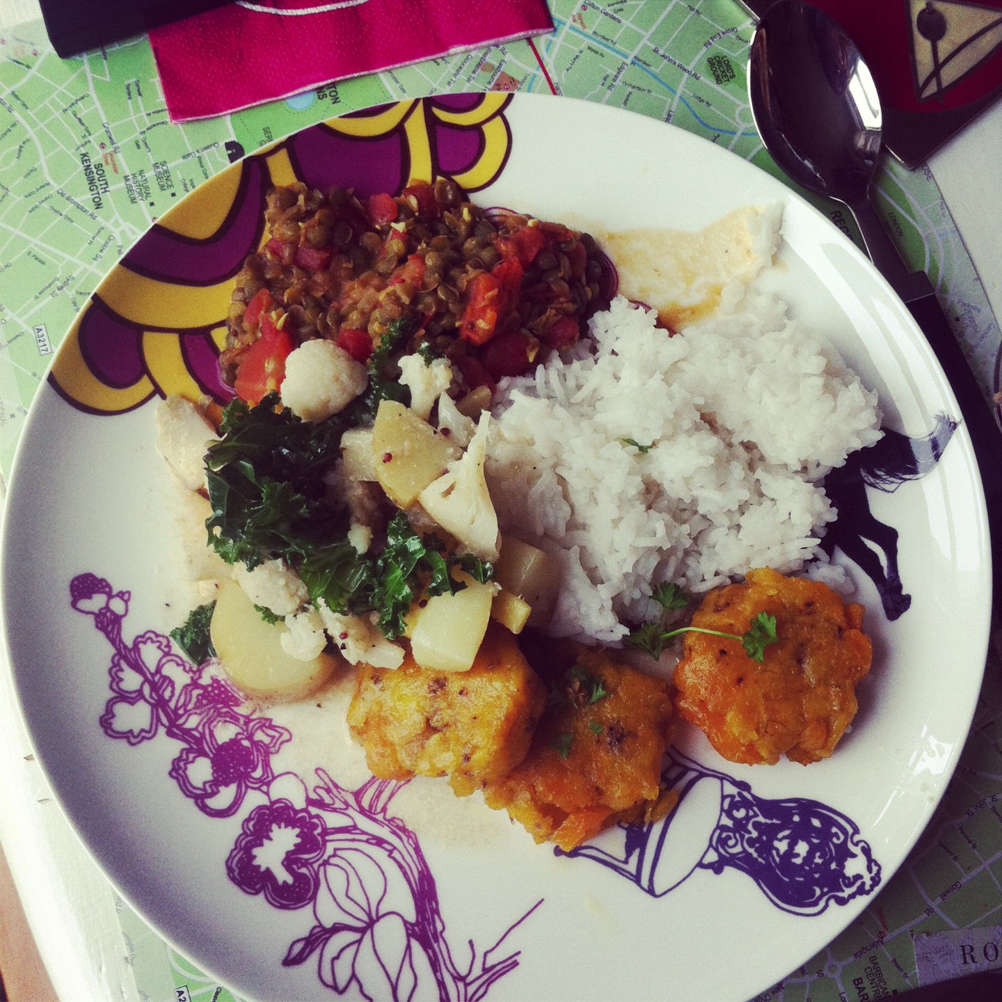 Indian dishes and plantain patties