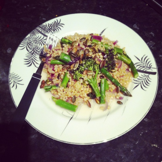 Barley risotto with asparagus and purple sprouting broccoli