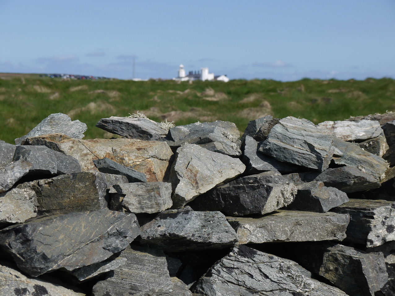 Dry stone wall and Lizard Lighthouse