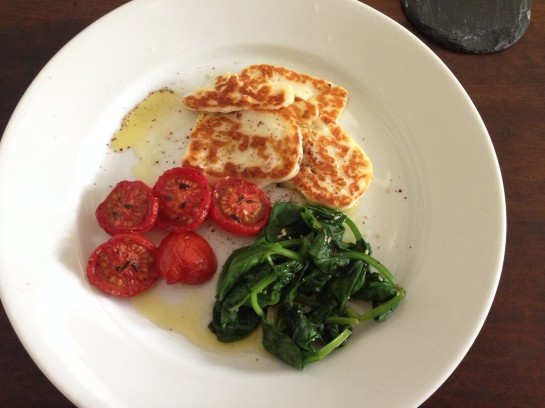 Halloumi and wilted spinach
