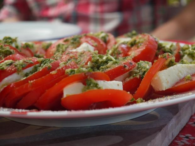 Tomato, mozzarella basil salad